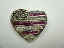 Sterling Silver Marcasite CZ Heart Brooch/Pin Pendant