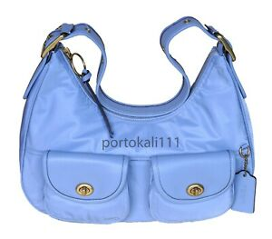 New Coach Cargo Hobo Shoulder Bag in Blubell Nylon Leather Women's NWT $250