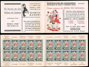 España. Guerra Civil.1938. Salut Dels Infants. Carnet completo 20 sellos. Raro
