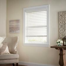 PRE CUT Home Decorators White Cordless 2-1/2 in. Premium Faux Wood Blind