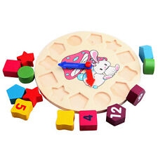 12 Colors Number Puzzle Educational Toy Bricks Clock for Baby Kids Toddler Gifts