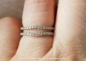 0.50Ct Round Cut Diamonds Enhancer Wedding Guard Wrap Ring 14k White Gold Over