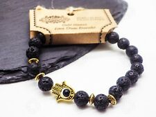 Hamsa / Lava Stone Agate - Gemstone Bracelet Hand of Fatima Islam Muslim Luck