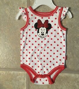 (NWOT) Disney Girl's Size 3-6 Mo White & Red Polka Dot Romper With Minnie Mouse