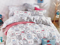 RABBIT TEDDY White GREY Blue Red 100% Cotton SINGLE Quilt Doona Duvet Cover Set