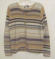 Fashion Bug Women's Cardigan Sweater Size Medium M Beige Striped Long Sleeve