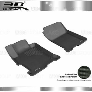 Fit 2013-2017 Honda Accord All Weather Floor Mat Front Set Kagu Black