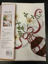 60X84 Flower Vase Tablecloth Cover Kitchen Dining Table 6 Chairs Embroidered New