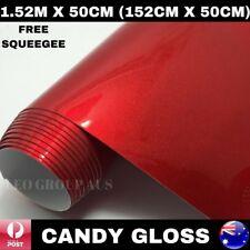 1.52M X 50CM CANDY GLOSS RED METALLIC CHROME CAR VINYL WRAP FILM AIR RELEASE