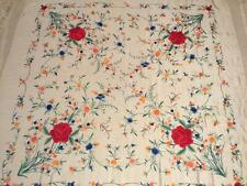 """BEAUTIFUL VINTAGE CHINESE CANTON EMBROIDERED SILK SHAWL EMBROIDERY, 50"""" x 50""""!"""