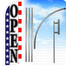 Open - Windless Swooper Feather Flag Kit Banner Sign - stars stripes wq