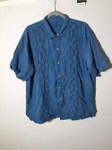 Tommy Bahama Mens Silk Blue Hawaiian Style Button Shirt Size XL Short Sleeve
