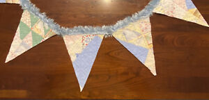 """NEW Handmade Quilt Bunting Pennant Banner 58"""" Long  Vintage Quilt & Fuzzy Edging"""
