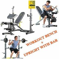 Gold's Gym Olympic Bench Weight and Power Rack Home Gym Total Body Workout NEW