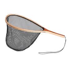New Nylon Fly Fishing Landing Net Fish Catch Release Wood Handle Frame P0Q5