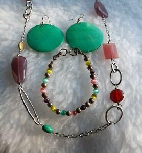 Lia Sophia Necklace With Original Tag Plus Shell Earrings & Cats Eye Bracelet