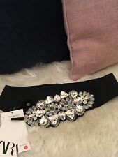 ZARA Black Bejewelled Elastic Rhinestone Belt UK 32 EU85 Bloggers BNWT