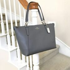 New Coach Ava Heather Grey Leather Top Zip Satchel Tote Bag F57526