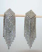 "VINTAGE RHINESTONE EARRINGS 11 STRAND FOIL BACK RUNWAY PAGEANT  4"" LONG CLIP ON"