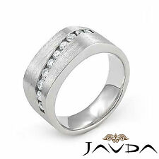 Channel Set Round Diamond Mens Half Wedding Band 10.7mm Ring Platinum 0.60Ct