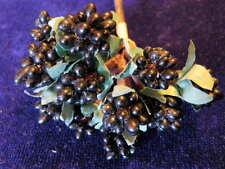 Vintage Millinery Flower Black Raspberry Blackberry Lot For Doll Hat Wedding SZ