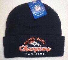DENVER BRONCOS REEBOK BEANIE ROLL UP SUPER BOWL CHAMPIONS KNIT WINTER CAP NEW