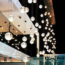 110V Modern Duplex Staircase Round Crystal Pendant Home Lights Glass Ball Lamp