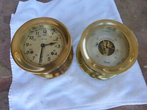 Vintage Chelsea Boston Ships Bell Clock w/ Matching Boston Aneroid Barometer