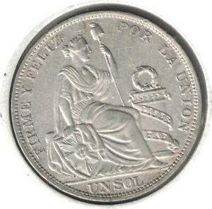 1915 F.G PERU UN SOL UNC. SILVER