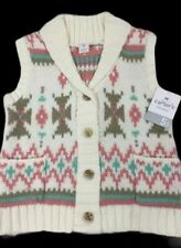 Carters Girls Size 5 Sleeveless Sweater Cardigan Vest Ivory Button front NWT