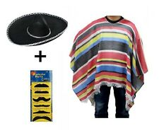 Mexican Poncho Sombrero Tash Set Wild West Bandit Fancy Dress Costume Cosplay