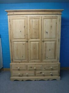 DOVETAILED WIDE CHUNKY RUSTIC SOLID WOOD 2DOOR 5DRAWER WARDROBE H211 W161 D62cm