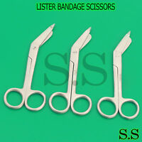 "3 Lister Bandage Scissors 5.5"" Surgical Medical Instruments Stainless Steel"
