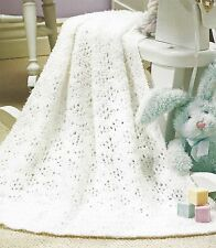 BABY  CHRISTENING BLANKET COT SMALL MEDIUM LARGE SIZES KNITTING PATTERN  (1124)