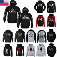 US Men Women Hoodies Jumper Sweater Top King and Queen Crown Couples Sweatshirts