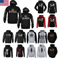 US Men Women Hoodies Jumper Sweater Top King and Queen Crown Couples Sweatshirts