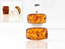 925 Sterling Silver Baltic Amber Pendant and Earrings  Real Amber Polish Amber