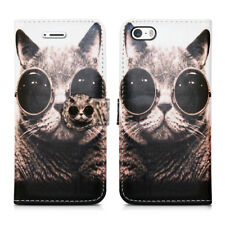 Leather Luxury Wallet Book Flip Phone Protect Case for Apple iPhone 6 6s Cat With Glasses - Shades Pussycat Kitten Bobcat