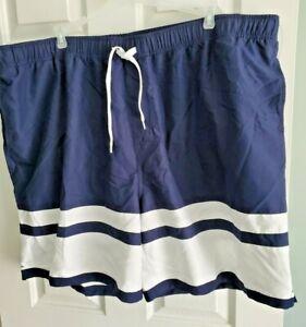 Harbor Bay Big Mens 3XL Bathing Suit Trunks Navy w/ White Stripes