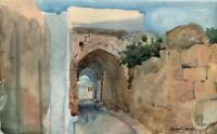 STEWART LOWDON Watercolour Painting IMPRESSIONIST LANDSCAPE GREECE ARCHWAY