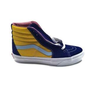Vans Sk8-Hi Canvas 500714 Navy Blue Red Yellow Sneakers Size Men 5.5 Women 7