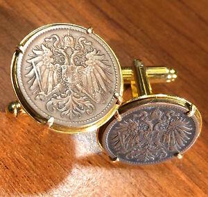Antique 1892-1916 Imperial Austria Double Eagle Austrian Bronze Coin Cufflinks!