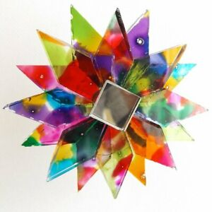 MULTI-COLOURED RECYCLED GLASS MANDALA HANGING STAR MOBILE MIRRORED TWISTER