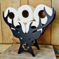 Black Stag Toilet Roll Paper Holder Free-Standing Bathroom Tissue Storage gift