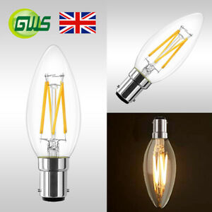 Dimmable 4W B15 Small Bayonet LED Candle Filament Light Bulb Industrial Vintage
