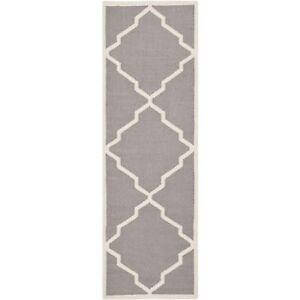 Safavieh Grey/ Ivory Flat weave Wool Runner 2' 6 x 6'