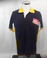 Rocawear Polo Shirt Men's Size Large Blue White Yellow Patches Hip Hop Vintage