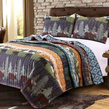 Cabin Bear Lodge Quilt Set Queen Size Bedding Reversible Wilderness Moose Pine