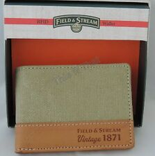 New Mens Field & Stream Buxton RFID Distressed Canvas/Leather Khaki Wallet