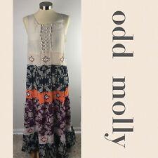 Odd Molly Silk Romantic Maxi Dress Sleeveless Embroidered